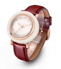 Brown Leather Real Marble Wrist Watch Marca